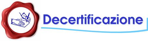Logo decertificazione pagina centrale