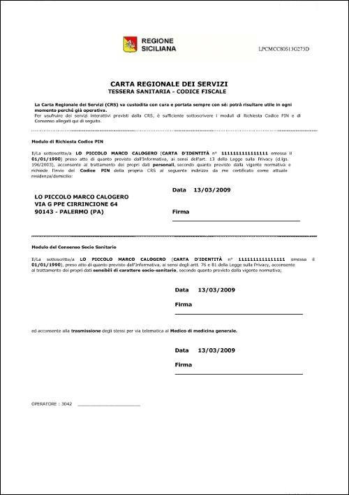 Esempio Documento da sottoscrivere