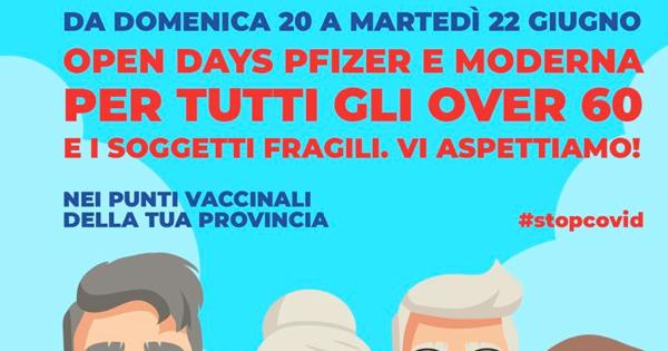 OPEN DAYS - Vaccini, tre giorni per over 60 con Pfizer e Moderna