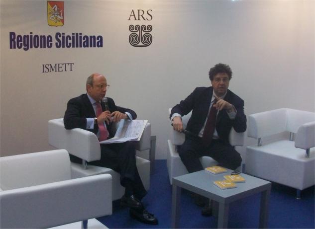 L'Assessore Gaetano Armao ed il giornalista Gaetano Savatteri durante il dibattito sulle tematiche dell'unità d'Italia e dell'autonomia regionale