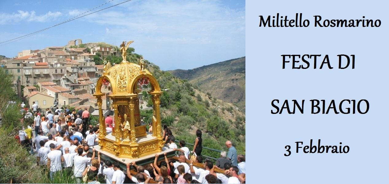 A Militello Rosmarino: Festa liturgica di San Biagio, Patrono e Protettore il 3 Febbraio