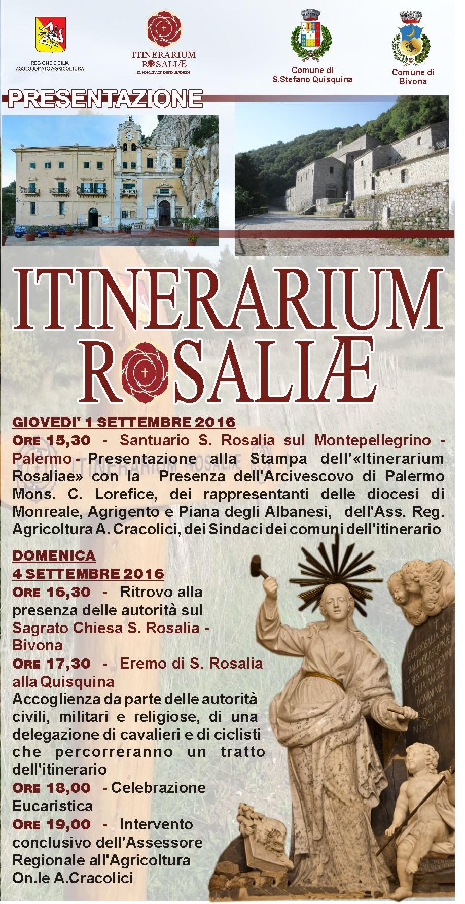 Giovedì 1/9 Santuario Monte Pellegrino - Domenica 4/9 S. Rosalia Santo Stefano