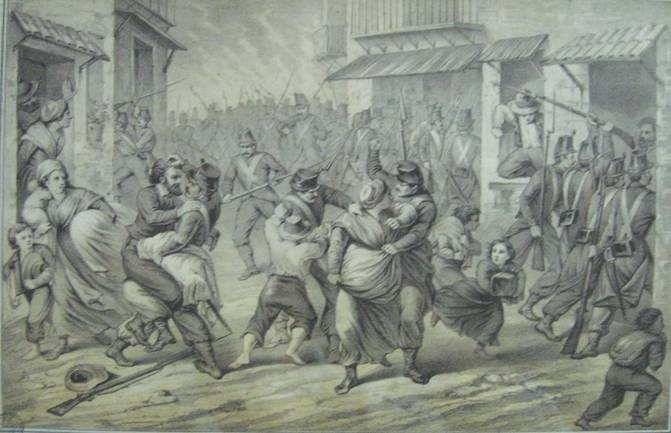 Saccheggio ed incendio della Porta di Castro fatto dalle truppe borboniche il 27 maggio 1860